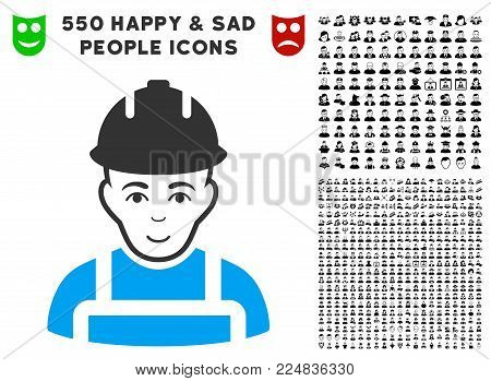 Glad Builder vector icon with 550 bonus pity and happy person pictures. Person face has positive sentiment. Bonus style is flat black iconic symbols.