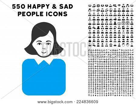 Happiness Bureaucrat Woman vector icon with 550 bonus sad and glad jobs icons. Person face has glad mood. Bonus style is flat black iconic symbols.