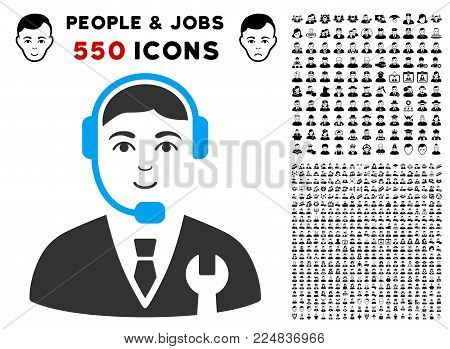 Glad Call Center Boss vector icon with 550 bonus sad and glad person pictures. Human face has enjoy sentiment. Bonus style is flat black iconic symbols.