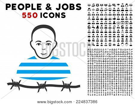Enjoy Camp Prisoner vector pictograph with 550 bonus pity and happy jobs graphic icons. Person face has glad emotion. Bonus style is flat black iconic symbols.