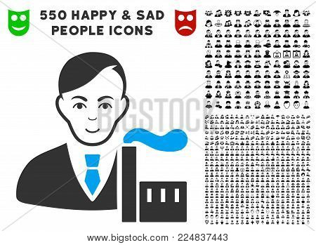 Positive Capitalist Oligarch vector pictogram with 550 bonus sad and glad jobs icons. Person face has joy expression. Bonus style is flat black iconic symbols.