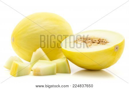 Yellow honeydew melon set isolated on white background one whole one section half with seeds five cut pieces