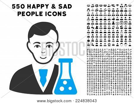Glad Chemical Scientist vector icon with 550 bonus pitiful and glad person clip art. Person face has glad emotion. Bonus style is flat black iconic symbols.