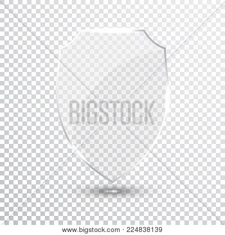 Transparent Shield. Safety Glass Badge Icon. Privacy Guard Banner. Protection Shield Concept. Decoration Secure Element. Defense Sign. Conservation Symbol. Vector illustration.