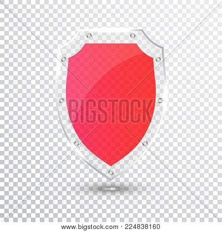 Transparent Red Shield. Safety Glass Badge Icon. Privacy Guard Banner. Protection Shield Concept. Decoration Secure Element. Defense Sign. Conservation Symbol. Vector illustration.
