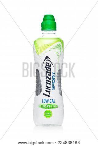 LONDON, UK - FEBRUARY 02, 2018: Bottle of Lucozade low calories sport energy soda drink on white background.