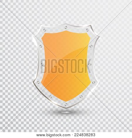 Transparent Yellow Shield. Safety Glass Badge Icon. Privacy Guard Banner. Protection Shield Concept. Decoration Secure Element. Defense Sign. Conservation Symbol. Vector illustration.