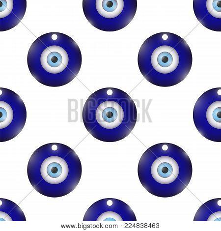 Glass Evil Eye Symbol Seamless Pattern on White Background. Turkish Traditional Amulet. Nazar Protection Talisman. Blue Magic Souvenir