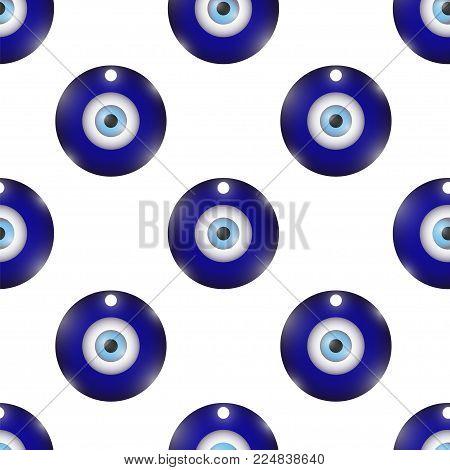 Vector Glass Evil Eye Symbol Seamless Pattern on White Background. Turkish Traditional Amulet. Nazar Protection Talisman. Blue Magic Souvenir