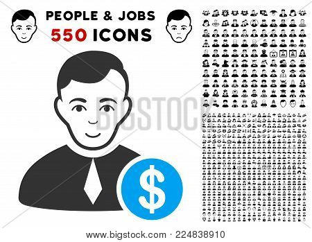 Happy Commercial Lawyer vector pictogram with 550 bonus sad and glad jobs symbols. Human face has glad feeling. Bonus style is flat black iconic symbols.