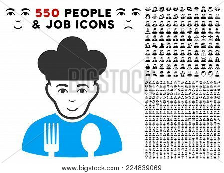 Joyful Cook vector pictograph with 550 bonus pitiful and glad jobs icons. Person face has glad emotions. Bonus style is flat black iconic symbols.