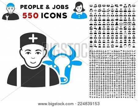 Enjoy Cow Veterinarian vector pictogram with 550 bonus pity and glad men pictures. Person face has joy expression. Bonus style is flat black iconic symbols.