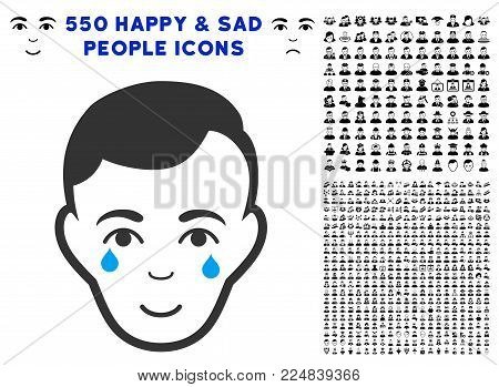 Happiness Crying Man Face vector icon with 550 bonus sad and happy people icons. Human face has glad emotion. Bonus style is flat black iconic symbols.