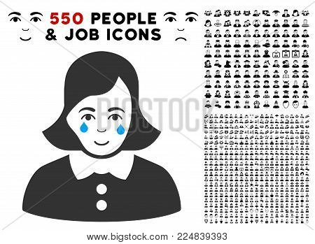 Joyful Crying Woman vector icon with 550 bonus pity and glad person pictures. Human face has joy feeling. Bonus style is flat black iconic symbols.