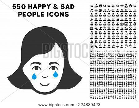 Smiling Crying Woman Face vector pictogram with 550 bonus pitiful and happy person pictographs. Human face has cheerful mood. Bonus style is flat black iconic symbols.