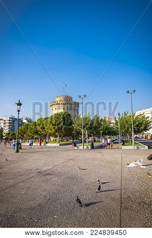 AUGUST 2017, THESSALONIKI GREECE: White tower near the shore, centre of Thessaloniki