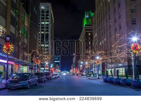City center of Raleigh, North Carolina at night.