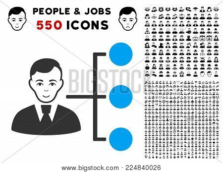 Glad Distribution Manager vector pictograph with 550 bonus pity and happy people pictures. Person face has gladness emotions. Bonus style is flat black iconic symbols.