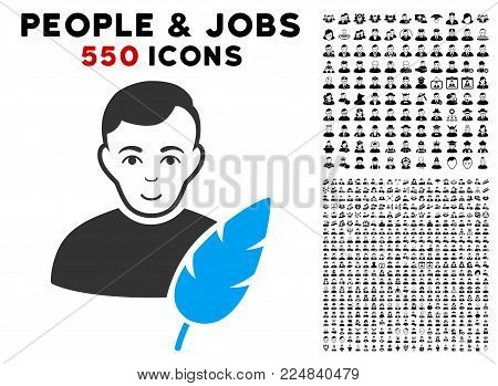 Joy Feather Writer vector pictograph with 550 bonus sad and happy men pictograms. Human face has positive sentiment. Bonus style is flat black iconic symbols.