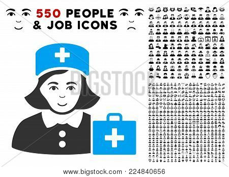 Glad First-Aid Nurse vector icon with 550 bonus pitiful and glad men pictographs. Person face has gladness mood. Bonus style is flat black iconic symbols.