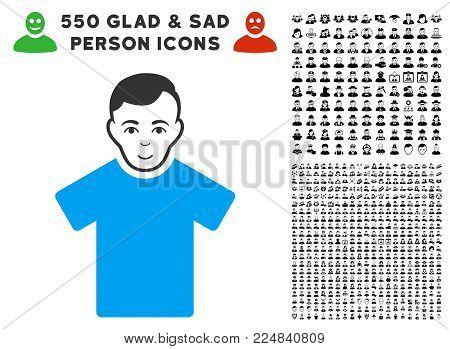 Glad Guy vector pictograph with 550 bonus sad and glad user pictographs. Human face has positive emotion. Bonus style is flat black iconic symbols.
