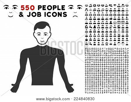 Gladness Guy Body vector pictogram with 550 bonus pitiful and glad person pictograms. Person face has happiness emotions. Bonus style is flat black iconic symbols.