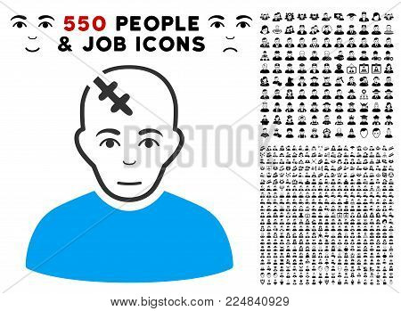 Happiness Head Hurt vector pictograph with 550 bonus pity and glad men design elements. Human face has gladness mood. Bonus style is flat black iconic symbols.