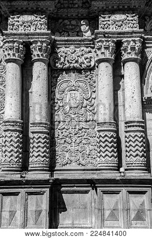 Arequipa, Iglesia Dela Compagina, Church Of The Company, Outdoor Details,peru