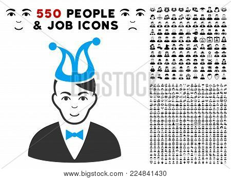 Happiness Joker vector pictogram with 550 bonus sad and glad jobs pictographs. Person face has smiling sentiment. Bonus style is flat black iconic symbols.
