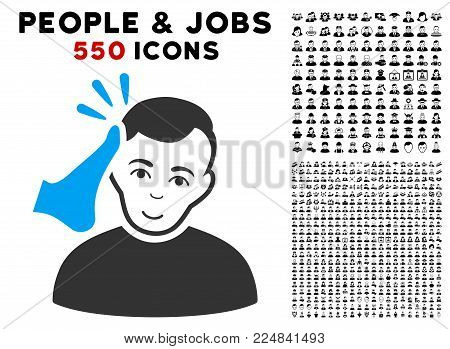 Happy Kickboxer vector pictograph with 550 bonus pity and glad people graphic icons. Person face has gladness emotions. Bonus style is flat black iconic symbols.
