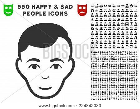 Joyful Man Face vector pictograph with 550 bonus pitiful and happy person graphic icons. Human face has happiness emotion. Bonus style is flat black iconic symbols.