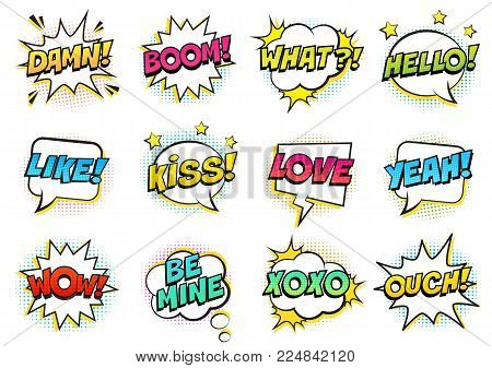 Retro colorful comic speech bubbles set with halftone shadows on white background. Expression text HELLO, YEAH, LOVE, LIKE, WOW, OUCH, DAMN, BOOM, XOXO, WHAT etc. Vector illustration, pop art style.