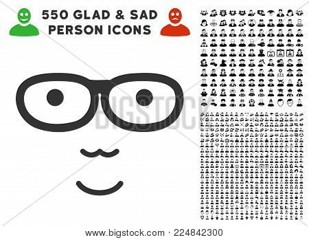Joy Nerd Face vector pictograph with 550 bonus pitiful and happy user icons. Person face has joy sentiment. Bonus style is flat black iconic symbols.