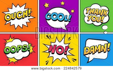 Retro comic speech bubbles set on colorful background. Expression text OUCH, COOL, THANK YOU, OOPS, NO, DAMN. Vector illustration, vintage design, pop art style.