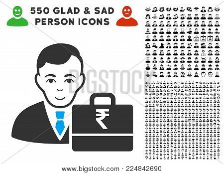 Glad Rupee Accounter vector icon with 550 bonus pitiful and glad men pictographs. Person face has joy expression. Bonus style is flat black iconic symbols.