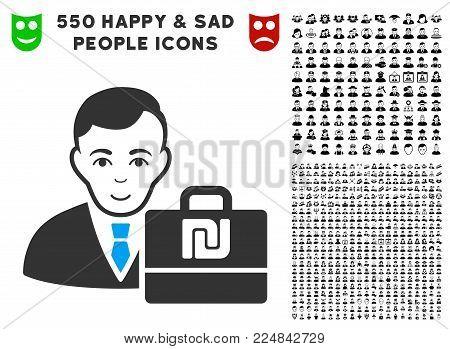 Positive Shekel Accounter vector icon with 550 bonus pitiful and glad people pictograms. Human face has glad emotions. Bonus style is flat black iconic symbols.