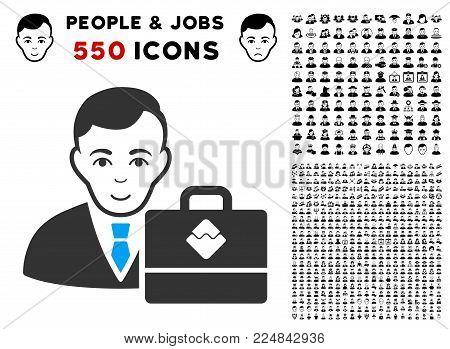 Happy Waves Accounter vector pictogram with 550 bonus sad and glad person images. Human face has joy sentiment. Bonus style is flat black iconic symbols.