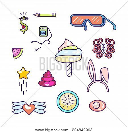 Fun doodles vector icons. Pop art modern style objects.