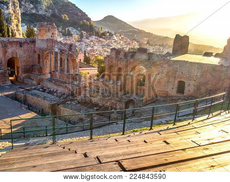 Landscape Of The Ancient Theatre Of Taormina.