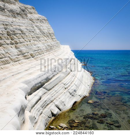 White Cliff and Blue Water at Scala dei Turchi