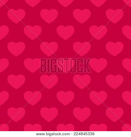 Hearts seamless pattern. Valentines day background. Vector abstract geometric red texture, repeat tiles. Love romantic theme. Design for decor, hearts greeting cards, prints, textile, fabric, gift paper. Hearts background.