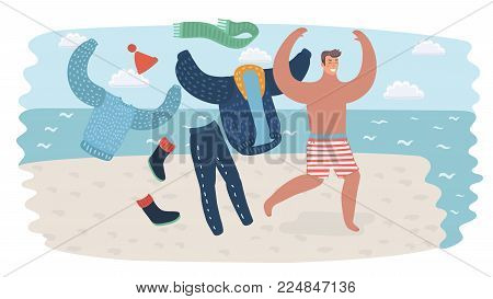 Vector cartoon funny illustration of summer vacation. Happy man on holiday running take off his clothes to the waterline of sea on seacoast. Traveling illustration for your design.
