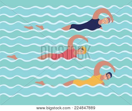 Vector cartoon funny illustration of graphic illustration of group woman in training in swimming pool, girls and sports, lifestyle. Swimmers, synchronized swimming.
