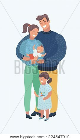 Vector cartoon illustration of young family with kids. Father, Mother, son and daughter. Human modern character on isolated background.