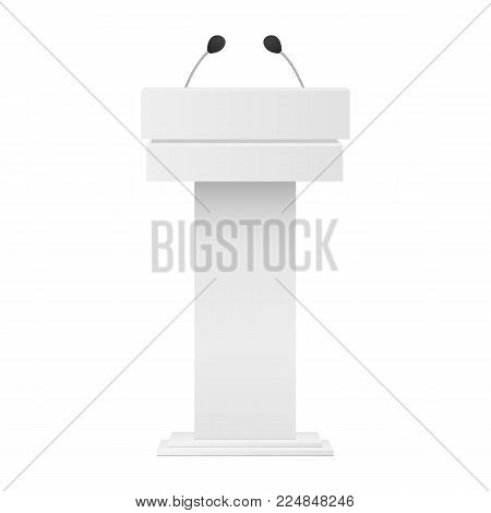White podium tribune mockup with microphones isolated. Vector illustration