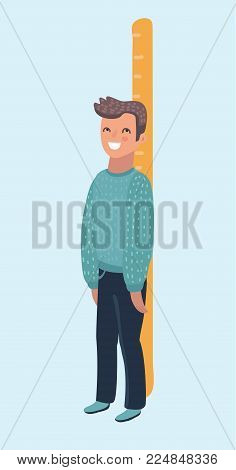 Happy boy measures his growth with a big ruler and stands o. Funny pediatric vector art on white background. Human character on isolated white background.