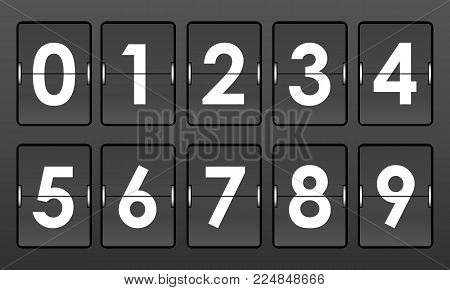 Flip numbers 0-9 on gray background. Mockup for mechanical scoreboard, clock or counter. Vector illustration
