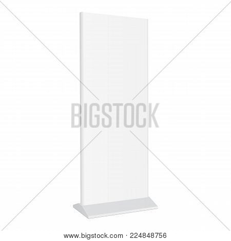 Outdoor advert lightbox isolated on white background. Advertising stand banner. Mockup for design or branding. Vector illustration