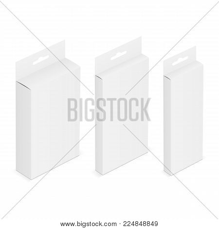 Set of white blank boxes with hanging tab. Isometric packaging mockups. Vector illustration
