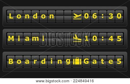 Airport board with cities London, Miami. Flights scoreboard. Departures and arrivals board. Vector illustration